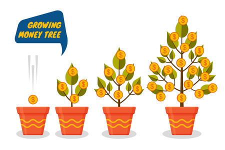 Money tree dollars growth set. Decorative plants in flower pots. Vector illustration.