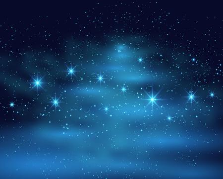 Cosmic space dark sky background with blue bright shining stars nebula at night vector illustration.