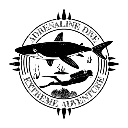 サメとダイバーの男とグランジヴィンテージダイビングラベルデザイン。ベクトルイラスト。