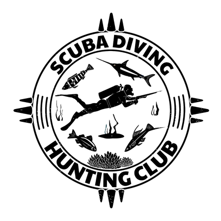 Grunge vintage diving label design with fishes and diver man in full equipment with spear fishing gun. Vector illustration.