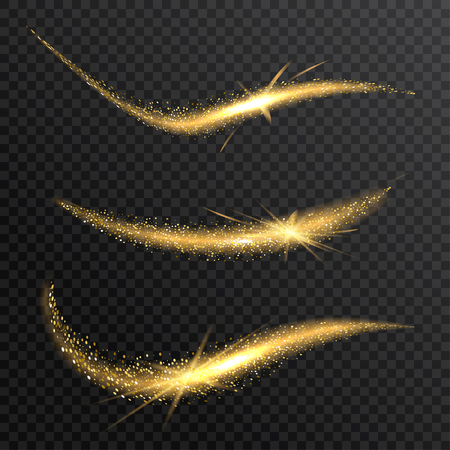 Vector sparkling confetti wave. Stardust glitter bright trail. Golden glittering magic waves with gold particles on checkered background. Vectores