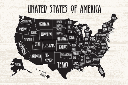 Poster map of United States of America with state names. Black and white print map of USA for t-shirt, poster or geographic themes. Hand-drawn font and black map with states. Algorithm binary, data code, decryption and encoding, row matrix .Vector Illustration Illustration
