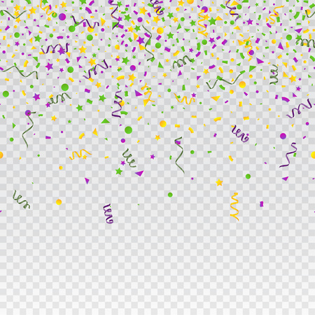 Mardi Gras carnival confetti seamless background. Traditional colors yellow, purple, green. Stock vector illustration  イラスト・ベクター素材
