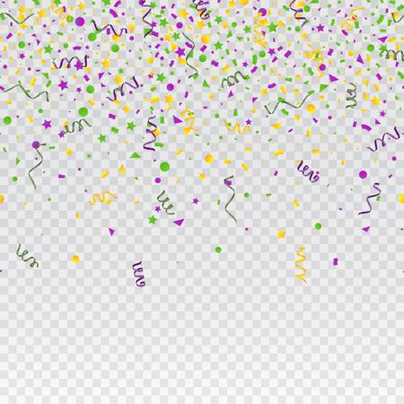 Mardi Gras carnival confetti seamless background. Traditional colors yellow, purple, green. Stock vector illustration Illustration