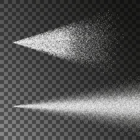 Luftiger Wassersprühnebel-Vektorsatz. Sprühernebel lokalisiert auf schwarzem transparentem Hintergrund. Luftiger Spray und saubere Illustration des wasserdunstigen Nebels. Vektorgrafik