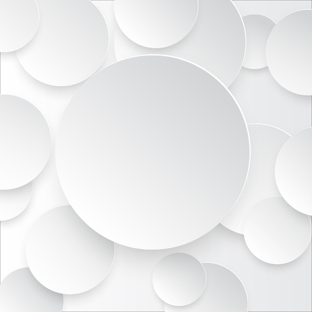 Vector illustration of white paper round notes with shadow.