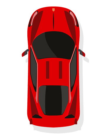 Red sport car, top view in flat style isolated on a white background.