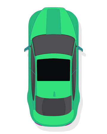Green sport car, top view in flat style isolated on a white background. Ilustração