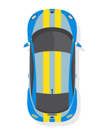Blue and yellow sport car, top view in flat style isolated on a white background.
