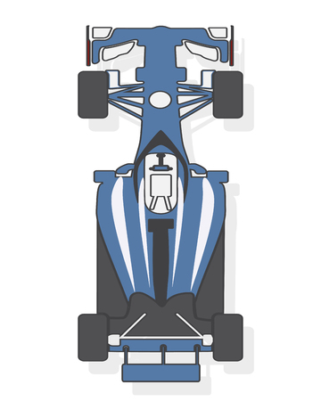 Formula car, racing car isolated on white background. Top view. Vector illustration.
