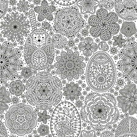 Happy Easter seamless pattern. Good design template for banner, greeting card, flyer. Ornamental white bunny, eggs and flowers Stock Vector - 96699442