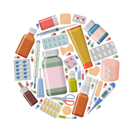 Sfondo di farmacia. Diverse pillole mediche, termometro, gesso, siringa e bottiglie in forma rotonda. Illustrazione vettoriale