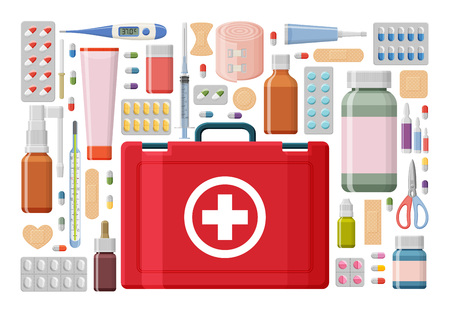Pharmacy background. Medical first aid kit with different pills, plaster, bottles and thermometer, syringe. Vector illustration