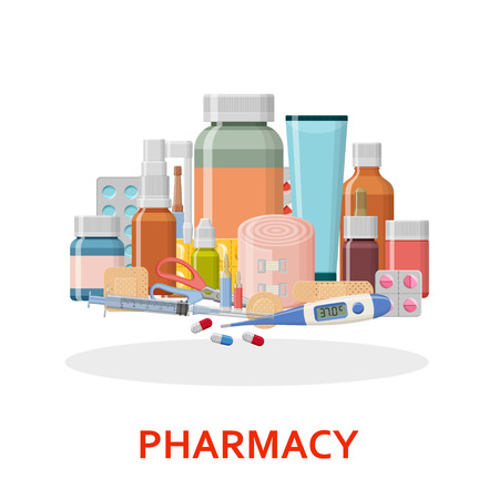 Pharmacy background. Different medical pills, plaster, thermometer, syringe and bottles Vector illustration 矢量图像