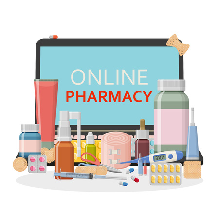 Pharmacy background. Online store concept. Different medical pills, plaster, thermometer, syringe and bottles. Vector illustration