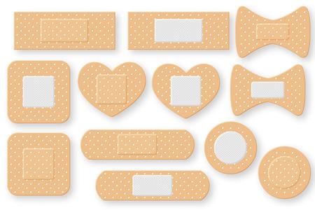 Conjunto de banda de yeso realista de primeros auxilios. Parche de vendaje elástico. Ilustración de vectores aislado sobre fondo blanco.