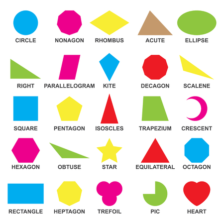 Educational geometric shapes set. Understanding of geometry poster for teaching and learning in school. Vector flat style cartoon shapes illustration isolated on white background.
