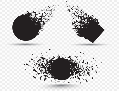 Black square stone with debris isolated. Abstract black explosion. Geometric illustration. Vector square and circle destruction shapes with debris isolated on checkered background. Stock Illustratie