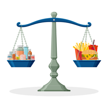 Medicines and junk food on balanced scale. Healthy lifestyle concept. Vector illustration. Illustration