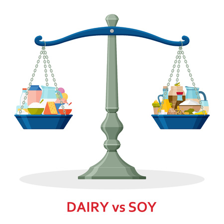Dairy food and soy food on balanced scale. Healthy lifestyle concept. Vector illustration. Vettoriali