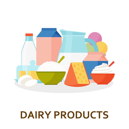 Dairy products background in flat style. Vector illustration. Иллюстрация