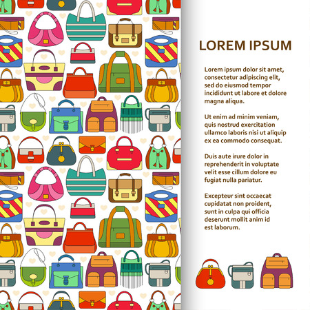 Flat poster or banner template with hand bags. Vector illustration.