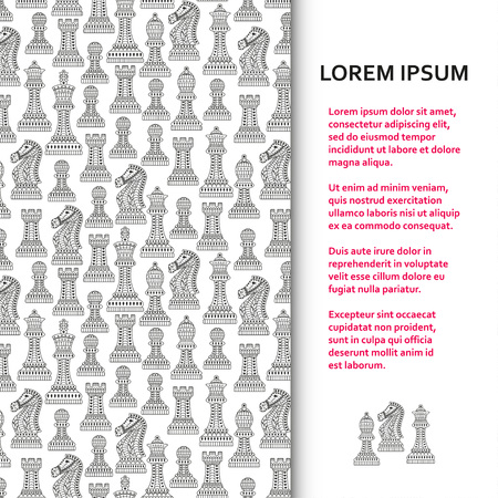 Flat poster or banner template with beautiful ornamental chess pieces. Vector illustration. Stock Illustratie