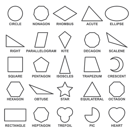 Set of basic geometric shapes . Advance mathematical concepts for algebra and geometry, representation of a square, rectangle and triangle. Vector line shapes illustration isolated on white background.