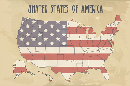 United states of America map with flag. North America. Illustration on vintage background.