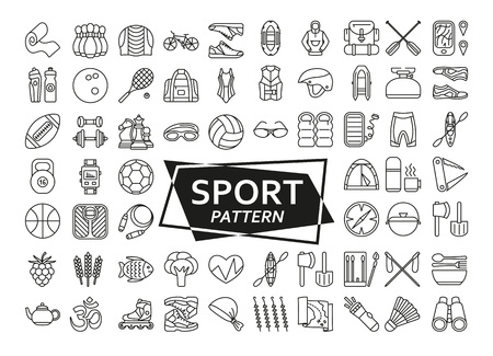 Background made of sport line icons.