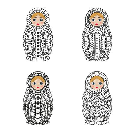 Matrioshka or nesting dolls set isolated on white background. Babushka with ornamental patterns. Vector illustration. Illustration