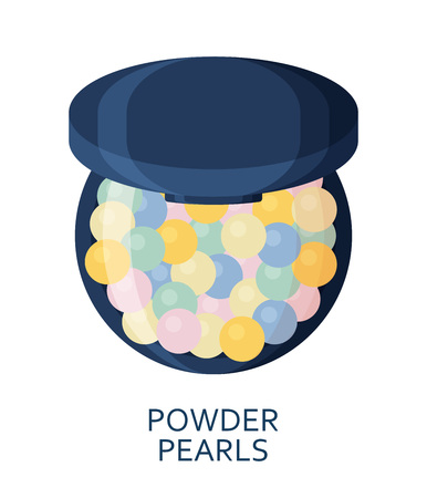 Powder pearls. Make up background. Cosmetic icons collection. Vector illustration Illustration