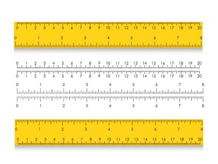 Scuola di misurazione righello con centimetri e pollici. Indicatori di dimensione con diverse distanze unitarie. Illustrazione vettoriale