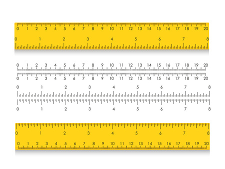 School measuring ruler with centimeters and inches. Size indicators with different unit distances. Vector illustration