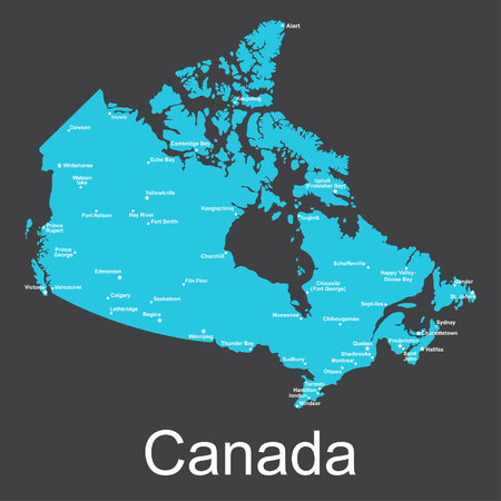 Map of Canada with cities on a dark background, vector illustration.