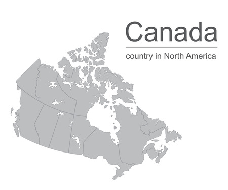 Canada map vector outline illustration with provinces or states borders on a white background. Illustration