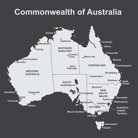 Map of Australia with major Towns and Cities, vector illustration.