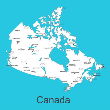 Map of Canada with cities on a blue background, vector illustration. Illustration