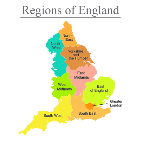 Mapa colorido de Inglaterra con contorno sobre fondo blanco.