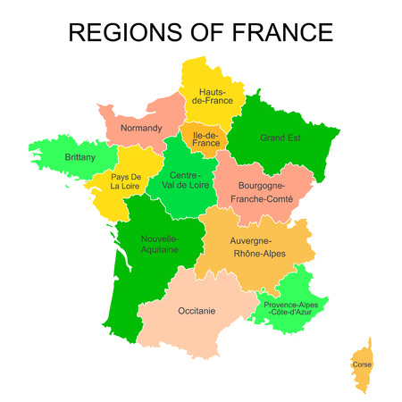 Colorful outlines map of France with names on white background.