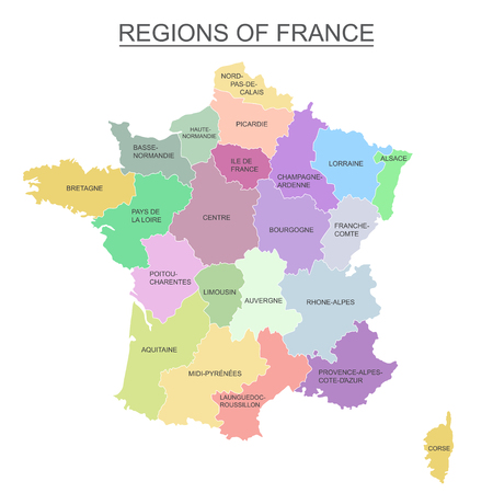 Interactive colorful map of metropolitans French regions on white background.
