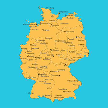 Vector map of Germany on blue background.