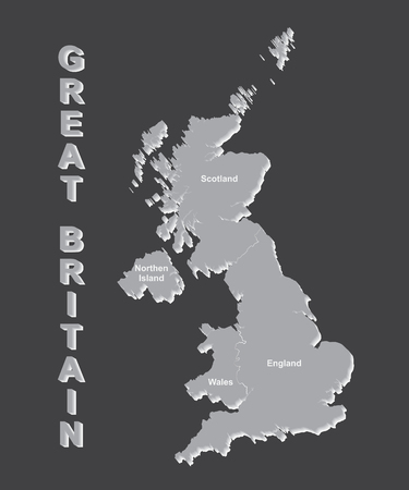 UNITED KINGDOM MAP, UK MAP with borders on grey background.