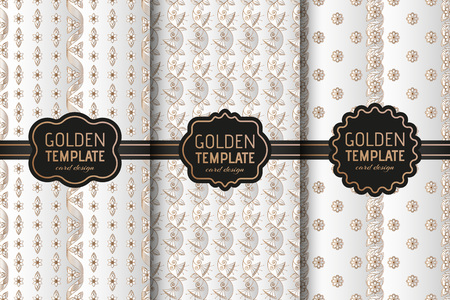 Set of golden luxury templates. Abstract geometric background with flowers. Illustration