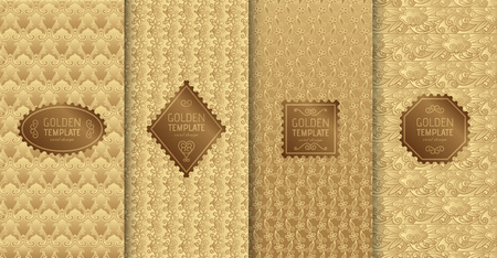 Set of golden luxury templates. Abstract geometric background with flowers. Illusztráció