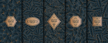 Set of golden luxury templates. Gold autumn leaves background.