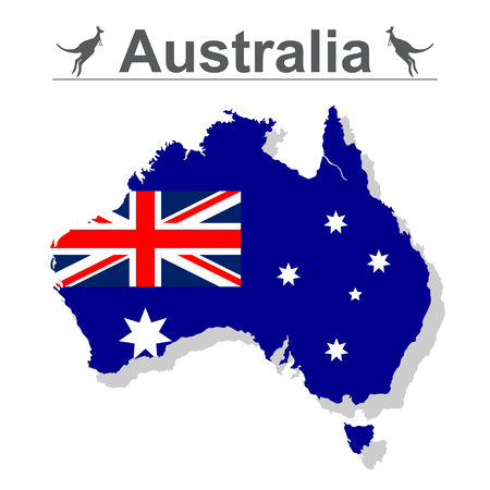 Australia map with flag isolated against white background, vector illustration. Ilustração