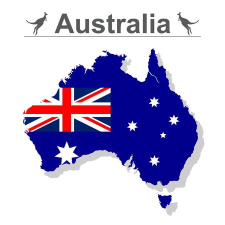Mapa de Australia con bandera aislada sobre fondo blanco, ilustración vectorial. Ilustración de vector