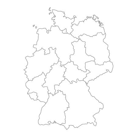Karte von Deutschland unterteilt in Bundesländer und Stadtstaaten. Einfache flache leere weiße Vektorkarte mit schwarzen Umrissen.