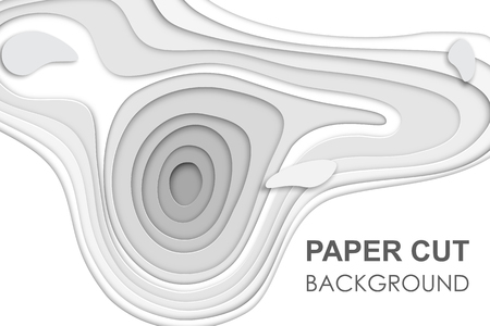 3D papercut banner of gradient white paper layers. Vector background design of horizontal abstract smooth origami shape paper cut, flowing liquid texture or topography concept for website template.